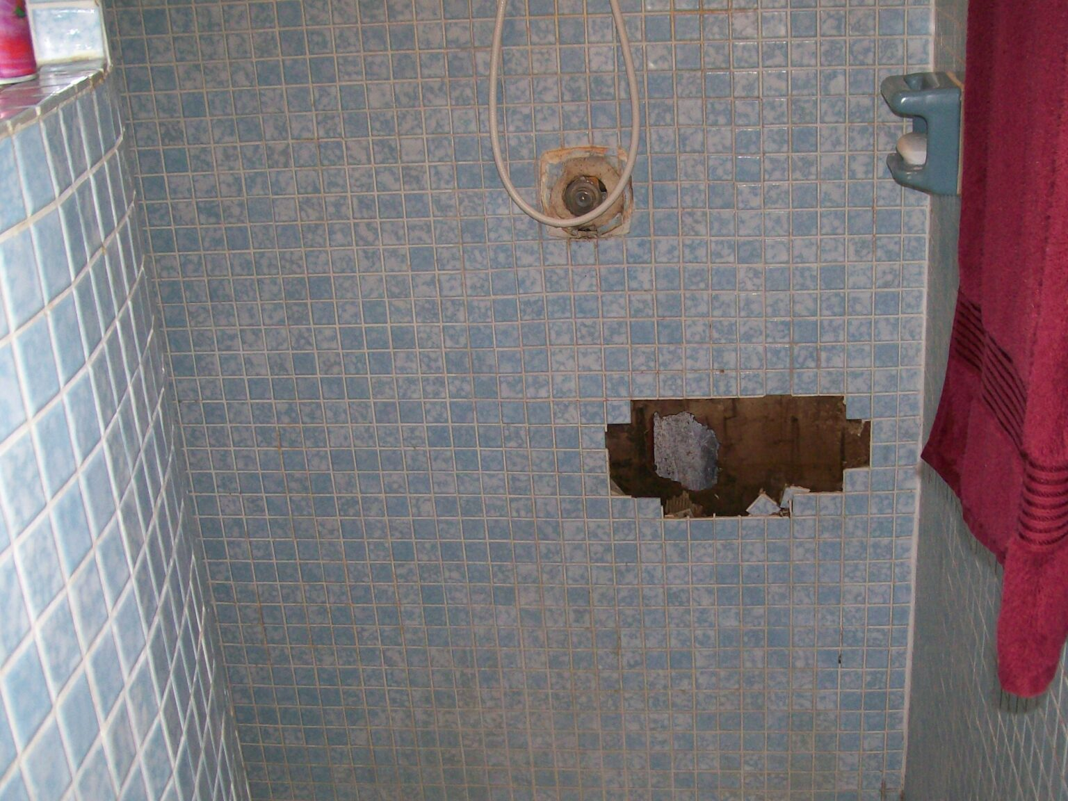 Shower with water damage